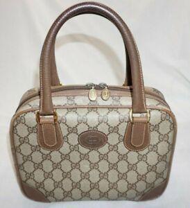 Women's Vintage GUCCI Gg Pattern Handbag Beige Brown Purse Handbag Satchel