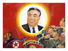 "North KOREA Propaganda Poster Print Leader Kim Il-Sung, Flags 18x24"" #NK031"