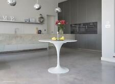 90cm Circular White Carrara Marble Tulip Dining Table designed by Eero Saarinen