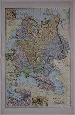 1910 ORIGINAL MAP RUSSIA ODESSA MOSCOW STEAM ROUTES BATTLEFIELDS FINLAND CRIMEA