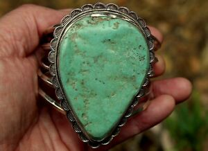 GIANT Old Navajo Sterling Silver & Royston Mine Turquoise Slab Stone Bracelet