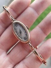 Antique/Vintage Ladies 9ct Gold 375 watch on gold bracelet.solid 9ct gold watch