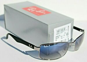 RAY-BAN RB3478 POLARIZED Sunglasses Silver/Blue Gradient 004/78 NEW