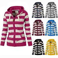 Fashion Women Long Sleeve Striped Outwear Sweatshirts Hoodies Coat Zipper Hooded
