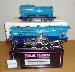 MTH TINPLATE STANDARD GAUGE #10-1249-1 BLUE COMET 400E STEAM LOCOMOTIVE NICKEL