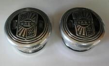 Pair of 1930's NASH CENTER HUB CAPS Vintage DUST COVER Aluminum Script Screw On