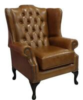 Chesterfield Vintage Mallory Queen Anne High Back Wing Chair Old Saddle Leather