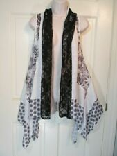 Cativa Lagenlook Vest Top Fly Away Long Size Large Black & White