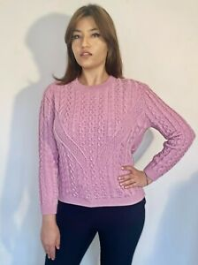 Women's Pink Knitted Cable Jumper FREE DELIVERY