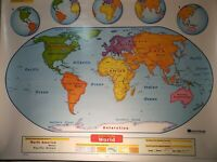 NYSTROM SCHOOL 2 LAYER PULL DOWN MAP 1ELS991 WORLD & UNITED STATES