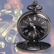 Retro Vintage Antique Steampunk Quartz Necklace Pendant Pocket Watch Black #M