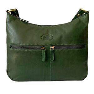 Rowallan Green Leather Handbag, Shoulder Bag, Cross Body Bag