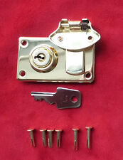 Cheney Locking Latches w Key-for Fender Strat/Tele & other cases-Brass w rivets