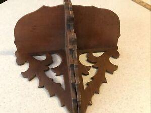 """Vintage Hand Carved Ornate Wood Corner Hanging Shelves Walnut 12"""" X 5 1/2"""""""