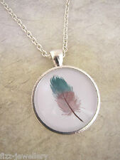 Plated Necklace New in Gift Bag Boho Festival Painted Feather Design Teal Silver