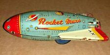1950's VINTAGE CRAGSTAN ROCKET MARS TIN FRICTION JAPAN SPACE TOY