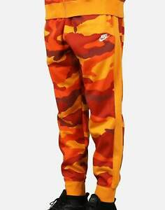 Nike Sportswear Fleece Sweatpants Orange Camo Black Tech BV3628-886 Pants XL Men