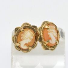 Estate Victorian 9k .375 Solid Gold Cameo Earrings Signed English Hallmarks