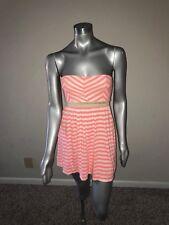 Roxy Woman Dress Summer Strapless Open Back Striped Pink White Sz XS