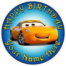 "DISNEY CARS CRUZ RAMIREZ BLUE - 7.5"" PERSONALISED ROUND EDIBLE ICING CAKE TOPPER"