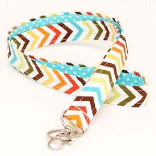 Key Chain Badge Neck Strap Lanyards Fabric ID Holder - rainbow chevron aqua dots