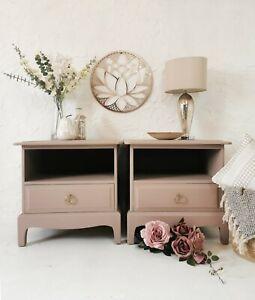 Dusky pink Stag Minstrel Bedside Tables / cabinets /  Drawers.