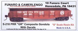 "Funaro F&C S-218 218 PENNSYLVANIA 1902-50's PRR ""GR"" Composite Gondola S-Scale"