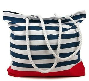 BLUE STRIPES Beach Bag, Cotton, Made in India, 15.7x17.7 inches Tote