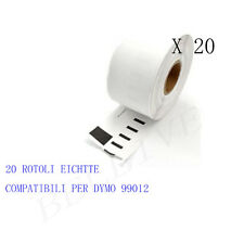 20 X Etichette adesivo per DYMO 99012 89x36mm LABELWRITER 310 320 330 serie BL