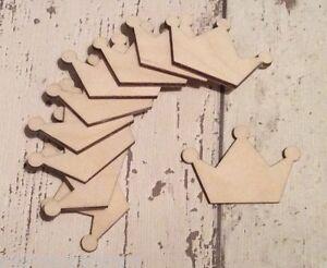set of 10 laser cut wooden mini 5cm princess tiaras unpainted embellishments