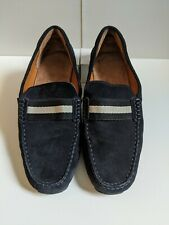 BALLY Navy Blue Suede Driving Loafers w/ Stripe Detail - Mens 6.5 UK, Width E