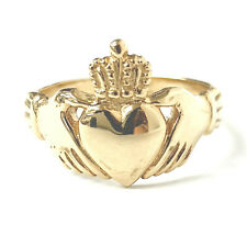 Gold Claddagh Ring 9ct Yellow Gold NEW 14.4mm Wide 4.3g Size R Hallmarked