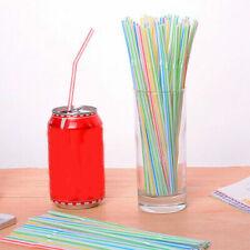 100Pcs Disposable Flexible Straws Plastic Juice Straws Drinking Supplies