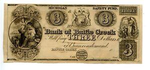 $3.  Bank of Battle Creek,  Michigan.  1838-1840.