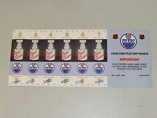 Edmonton Oilers 1981-82 Playoff Ticket Sheet of 6 unissued tickets