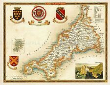 MAP ANTIQUE MOULE 1850 CORNWALL COUNTY OLD LARGE REPLICA POSTER PRINT PAM1143