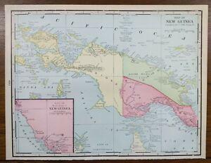 "Vintage 1903 NEW GUINEA  Map 14""x11"" ~ Old Antique Original PAPUA PORT MORESBY"