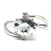 Ring Weißgold 750 18K, Aquamarin Schnitt Oval, Diamanten