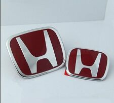 1 Pair Red + Chrome Front and Rear Badge Emblem for Honda Accord CL7 CL9 03-07
