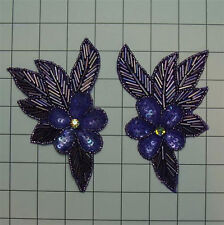 SEQUIN BEADED PURPLE IRIS FLOWER PAIR APPLIQUES 2630-H