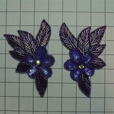 SEQUIN BEADED PURPLE IRIS FLOWER PAIR APPLIQUES 2630-H