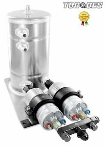 Twin Bosch 044 Fuel Pumps Aluminium Surge Swirl Pot Tank Assembly AN8/AN10 BLACK