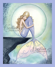 AT REST Sleeping Mermaid & Moon Print from Original Painting By Camille Grimshaw