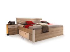 Doppelbett Futonbett Bett 180x200 Eiche Dekor Weiß inkl. 2 Nachtkommoden MILENA