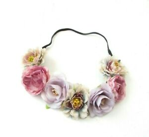 Lilac Mauve Pink Grey Rose Peony Flower Headband Garland Hair Crown Vintage 0244
