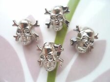 20pcs Metal Jeans Jacket Sew Button Day Of The Dead Sugar Skull Cross Silver