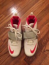Nike New Huarache Lacrosse Athletic Shoes In White/red And Silver Size 12