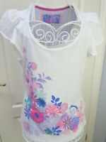 MANTARAY White 100% Cotton Jersey Floral Embroidered Top 14 Boho Ethnic Summer