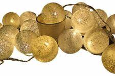 Gold Fleck 5cm Ball String Night LED Light Room Party Outdoor Event BATT PWR