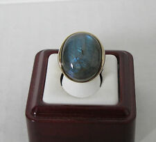 QVC J270574 Bold Oval Labradorite Ring 14K Gold Size 5